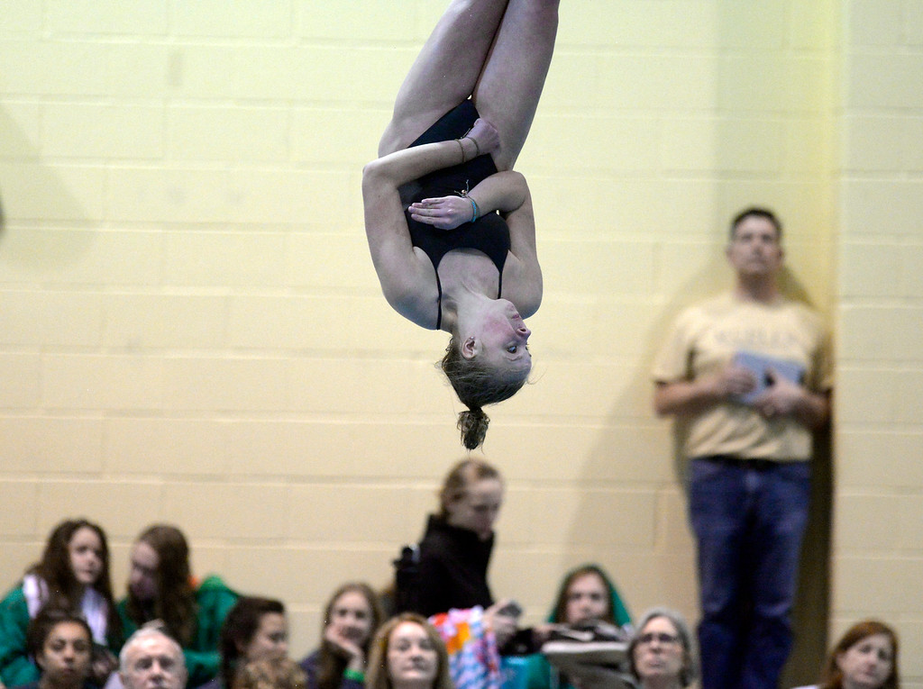 . THORNTON, CO - FEBRUARY 8: Silver Creek\'s Kathy Weygandt competes in the diving finals during the girls 4A swimming and diving championships February 8, 2019 at the Veterans Memorial Aquatic Center in Thornton. To view more photos visit bocopreps.com. (Photo by Lewis Geyer/Staff Photographer)