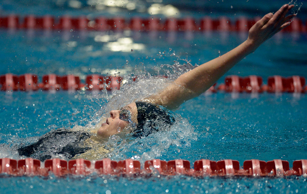. THORNTON, CO - FEBRUARY 8: Monarch\'s Katey Lewicki swims to a third place finish in the 200 yard IM during the girls 4A swimming and diving championships February 8, 2019 at the Veterans Memorial Aquatic Center in Thornton. To view more photos visit bocopreps.com. (Photo by Lewis Geyer/Staff Photographer)