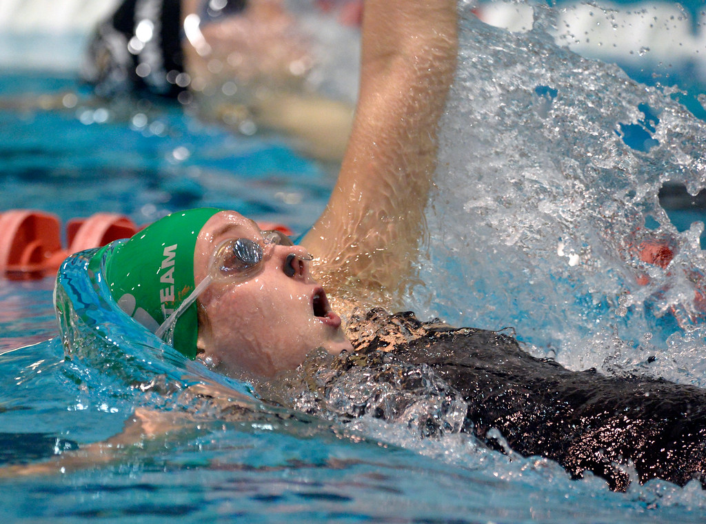 . THORNTON, CO - FEBRUARY 8: Niwot\'s Abbie Shaw swims to a third place finish in the 100 yard backstroke during the girls 4A swimming and diving championships February 8, 2019 at the Veterans Memorial Aquatic Center in Thornton. To view more photos visit bocopreps.com. (Photo by Lewis Geyer/Staff Photographer)