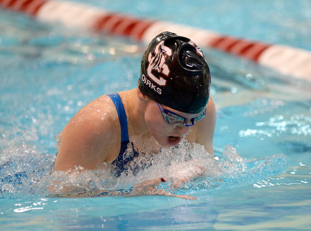 . THORNTON, CO - FEBRUARY 8: Silver Creek\'s Kylie Dirks competes in the 200 yard IM prelim during the girls 4A swimming and diving championships February 8, 2019 at the Veterans Memorial Aquatic Center in Thornton. To view more photos visit bocopreps.com. (Photo by Lewis Geyer/Staff Photographer)