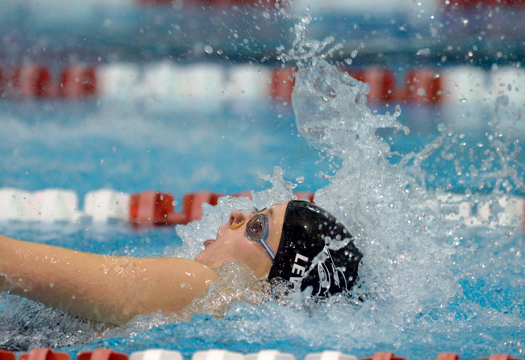 . THORNTON, CO - FEBRUARY 8: Monarch\'s Katey Lewicki swims to a first place finish in the 100 yard backstroke during the girls 4A swimming and diving championships February 8, 2019 at the Veterans Memorial Aquatic Center in Thornton. To view more photos visit bocopreps.com. (Photo by Lewis Geyer/Staff Photographer)