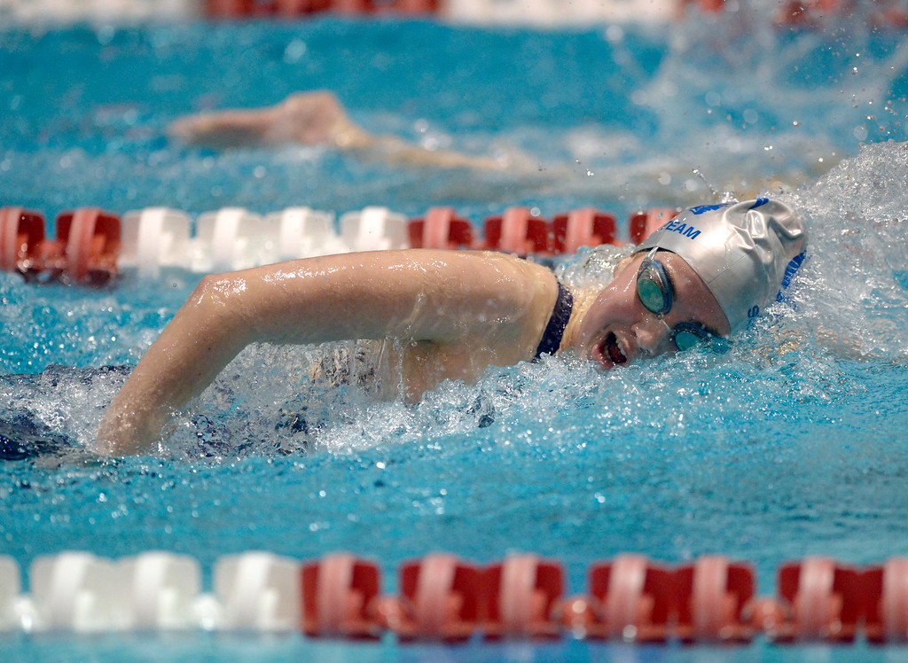. THORNTON, CO - FEBRUARY 8: Longmont\'s Lucy Matheson competes in the 500 yard freestyle final during the girls 4A swimming and diving championships February 8, 2019 at the Veterans Memorial Aquatic Center in Thornton. To view more photos visit bocopreps.com. (Photo by Lewis Geyer/Staff Photographer)