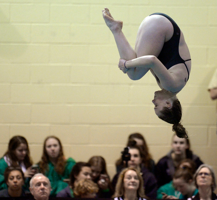 . THORNTON, CO - FEBRUARY 8: Silver Creek\'s Micaela Kimmett competes in the diving finals during the girls 4A swimming and diving championships February 8, 2019 at the Veterans Memorial Aquatic Center in Thornton. To view more photos visit bocopreps.com. (Photo by Lewis Geyer/Staff Photographer)