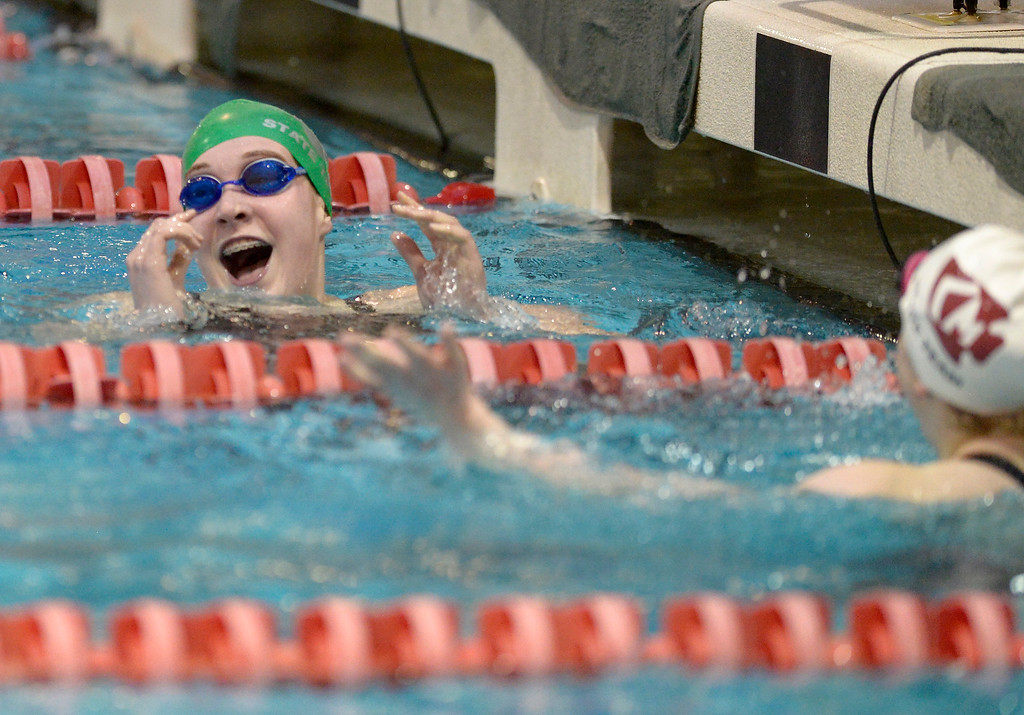 . THORNTON, CO - FEBRUARY 8: Niwot\'s Mary Codevilla sees her time and first place finish on the scoreboard after winning the 200 yard IM at the girls 4A swimming and diving championships February 8, 2019 at the Veterans Memorial Aquatic Center in Thornton. To view more photos visit bocopreps.com. (Photo by Lewis Geyer/Staff Photographer)