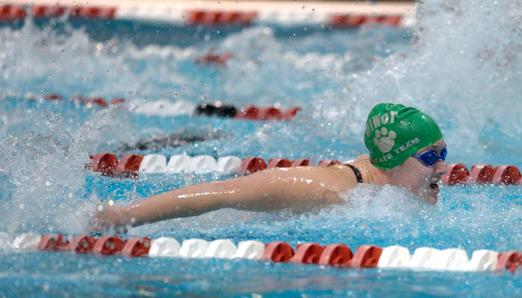 . THORNTON, CO - FEBRUARY 8: Niwot\'s Mary Codevilla swims to a first place finish in the 200 yard IM during the girls 4A swimming and diving championships February 8, 2019 at the Veterans Memorial Aquatic Center in Thornton. To view more photos visit bocopreps.com. (Photo by Lewis Geyer/Staff Photographer)