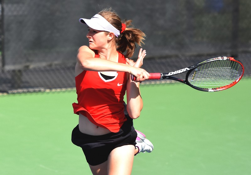 Fairview's Alexis Bernthal fires a winner during the first day of the Class 5A girls tennis state championships on Thursday, May 10, at Gates Tennis Center in Denver.