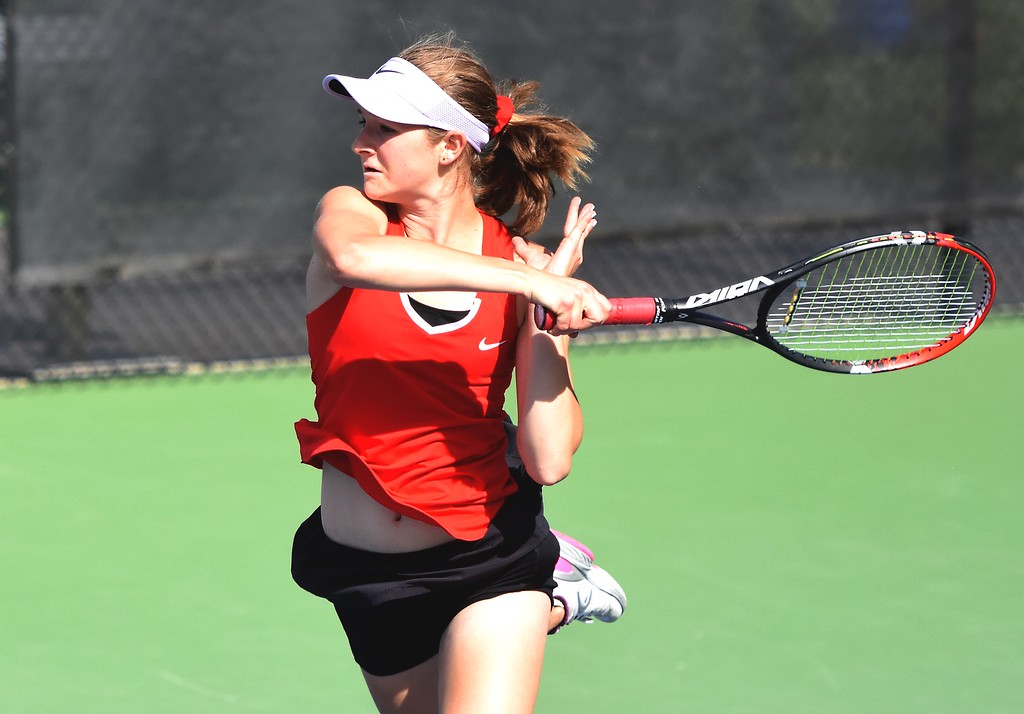 . Fairview\'s Alexis Bernthal fires a winner during the first day of the Class 5A girls tennis state championships on Thursday, May 10, at Gates Tennis Center in Denver.