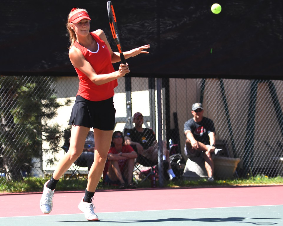 . Fairview\'s Denali Pinto returns a serve during the first day of the Class 5A girls tennis state championships on Thursday, May 10, at Gates Tennis Center in Denver.
