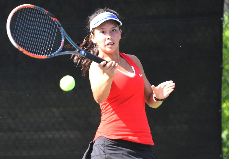 Fairview No. 1 singles player Natalie Stone hits a ball down the line during the first day of the Class 5A girls tennis state championships on Thursday, May 10, at Gates Tennis Center in Denver.