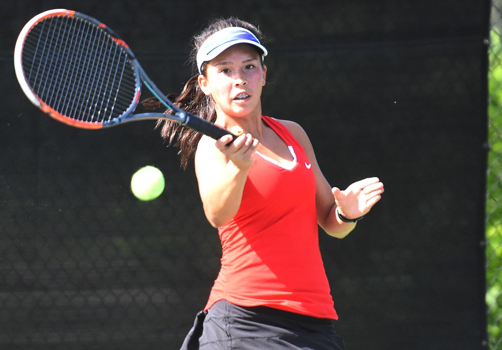 . Fairview No. 1 singles player Natalie Stone hits a bal down the line during the first day of the Class 5A girls tennis state championships on Thursday, May 10, at Gates Tennis Center in Denver.