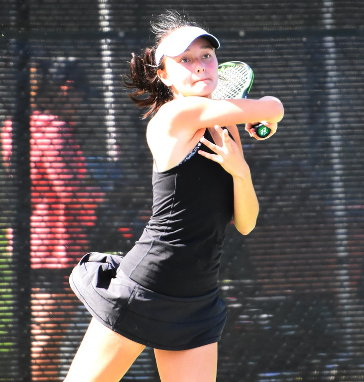 . Monarch\'s Marina Youngdahl watches a forehand during the first day of the Class 5A girls tennis state championships on Thursday, May 10, at Gates Tennis Center in Denver.