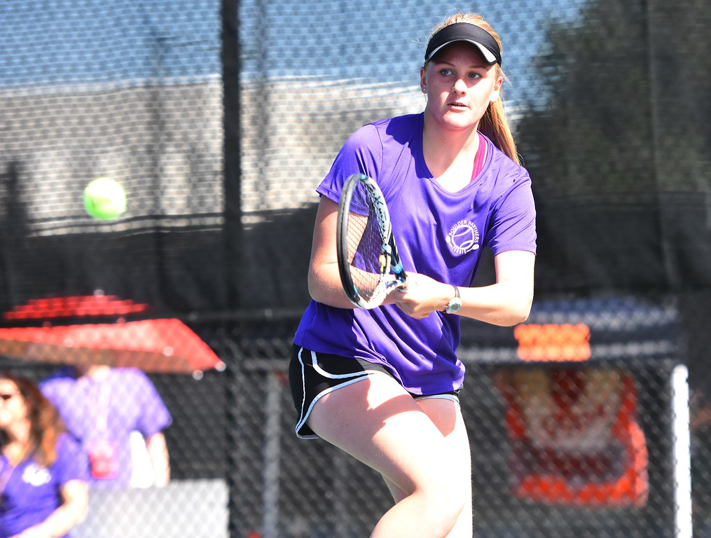 . Boulder\'s Grace Geer hits a line shot during the first day of the Class 5A girls tennis state championships on Thursday, May 10, at Gates Tennis Center in Denver.