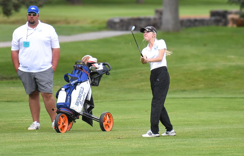 Broomfield's Lauren Hirsch watches her approach shot on the par-4 fifth hole during the Class 5A girls golf state championships on Monday at The Club at Rolling Hills in Golden.