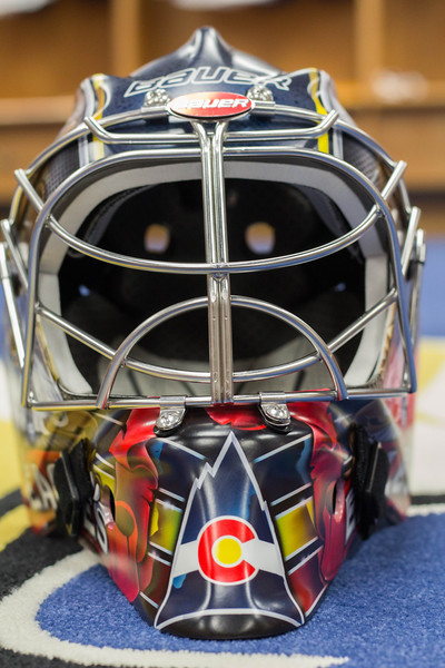 Lukas Hafner's new mask design features mountains, an Eagle and the Colorado state flag, all in the Colorado Eagles' new color scheme. (Ashley Potts / Colorado Eagles)