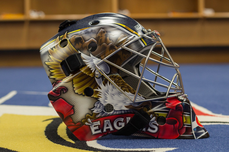 Colorado Eagles goaltender Lukas Hafner got a new paintjob for his mask, along with new pads, a symbol of finally finding a home. (Ashley Potts / Colorado Eagles)