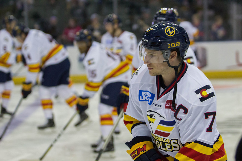 Colorado Eagles captain Matt Garbowsky warms up before their game against Utah on Friday Oct. 13, 2017 at the Budweiser Events Center. (Ashley Potts / Colorado Eagles)