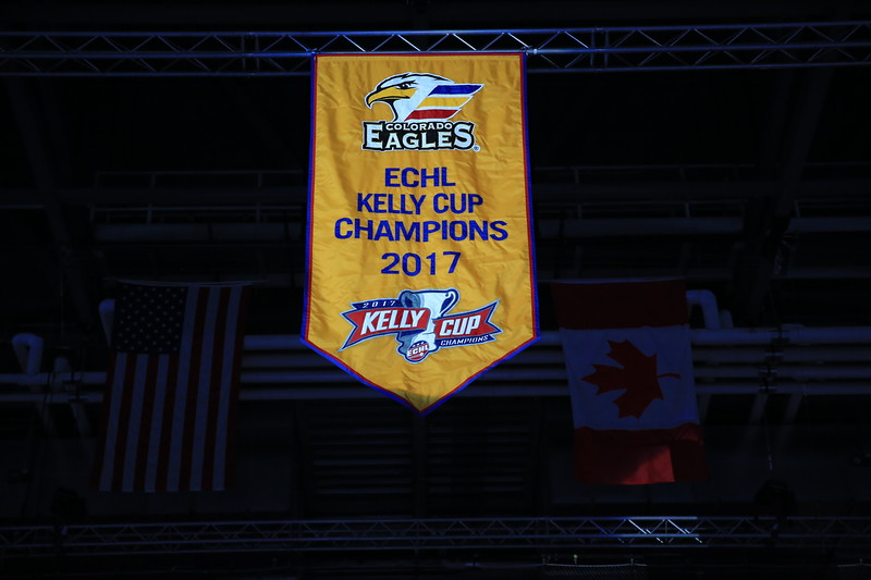 The Colorado Eagles raised a championship banner Friday Oct. 13, 2017 from last season's Kelly Cup victory, their first since joining the ECHL. (Photo courtesy of Standout Imagery)