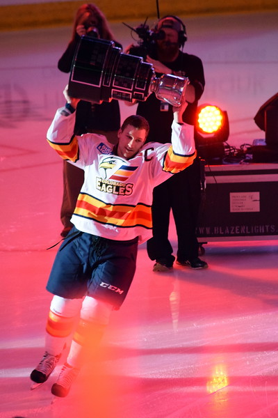 Colorado Eagles captain Matt Garbowsky skates with the Kelly Cup on Friday Oct. 13, 2017 at the Budweiser Events Center as the club celebrated its championship last season. (Sierra Spiller / Colorado Eagles)