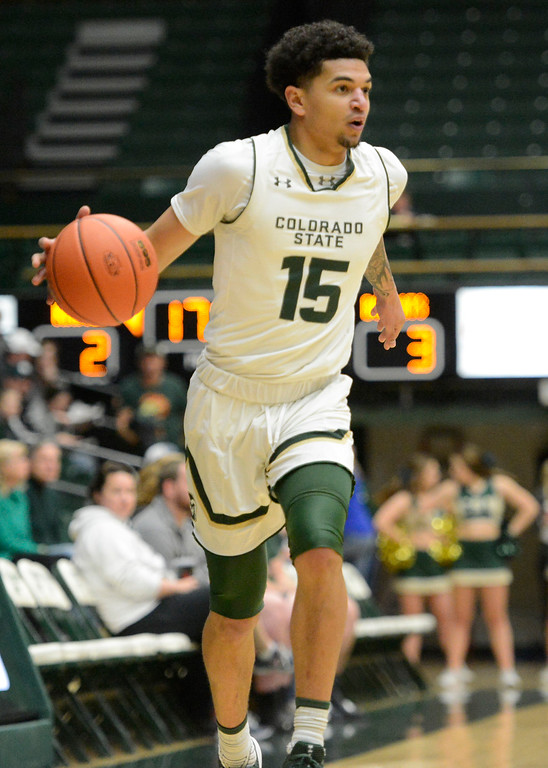 . Colorado State\'s Anthony Bonner dribbles during a Dec. 17 game against Texas State at Moby Arena.  (Sean Star/Loveland Reporter-Herald)