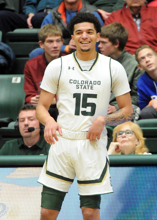 . Colorado State\'s Anthony Bonner gets ready to check in during a game against Long Beach State on Dec. 23 at Moby Arena.  (Sean Star/Loveland Reporter-Herald)