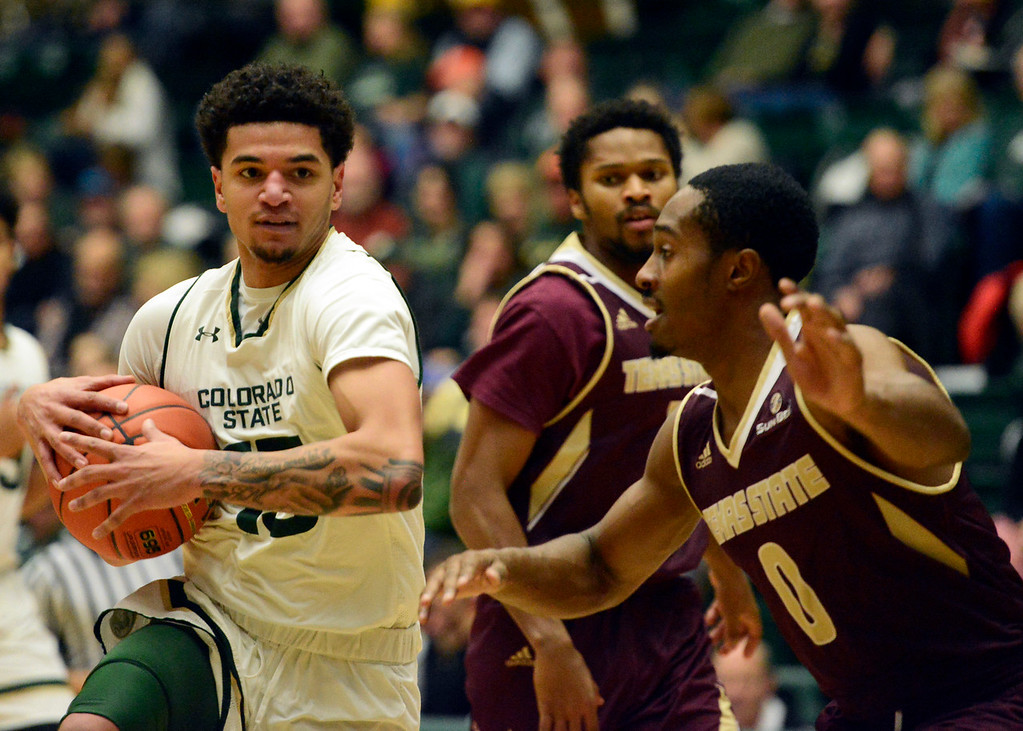 . Colorado State\'s Anthony Bonner gathers his dribble in a Nov. 17 game against Texas State at Moby Arena. (Sean Star/Loveland Reporter-Herald)