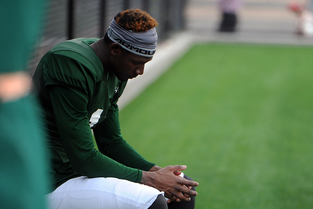 . Colorado State wide receiver Preston Williams sits out during practice Thursday, August 2, 2018 in Fort Collins, Colorado. (Sean Star/Loveland Reporter-Herald)