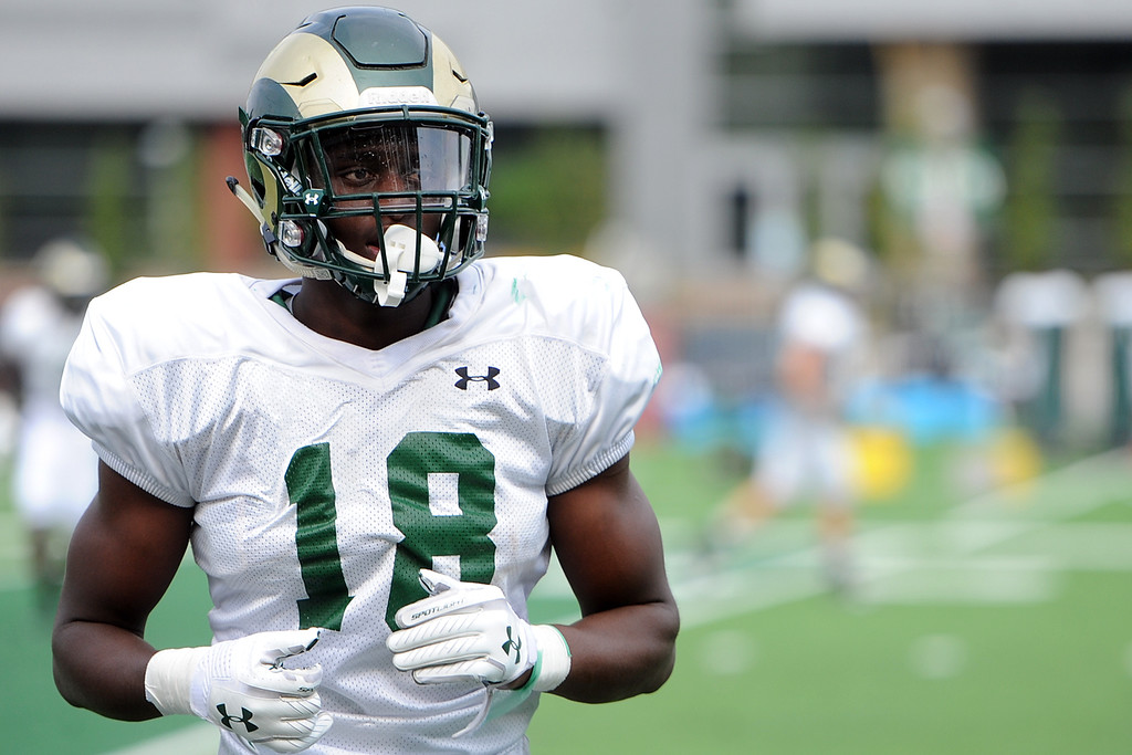 . Colorado State defensive back Braylin Scott finishes a drill during practice Thursday, August 2, 2018 in Fort Collins, Colorado. (Sean Star/Loveland Reporter-Herald)