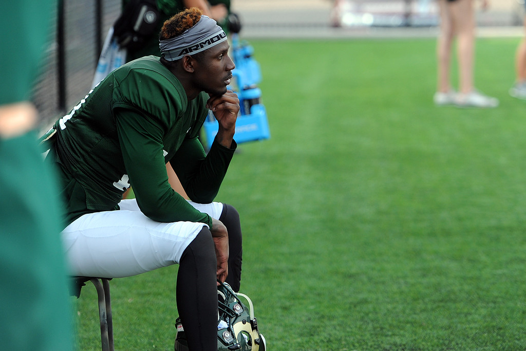 . Colorado State wide receiver Preston Williams watches practice from the sidelines on Thursday, August 2, 2018 in Fort Collins, Colorado. (Sean Star/Loveland Reporter-Herald)