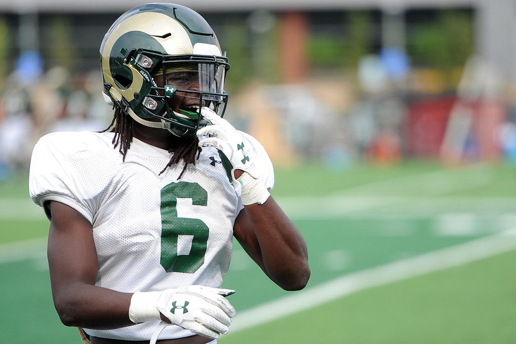 . Colorado State defensive back Malcolm Magee finishes a drill during practice Thursday, August 2, 2018 in Fort Collins, Colorado. (Sean Star/Loveland Reporter-Herald)