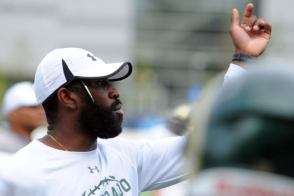 . Colorado State defensive graduate assistant Trent Matthews gives instruction during practice Thursday, August 2, 2018 in Fort Collins, Colorado. (Sean Star/Loveland Reporter-Herald)