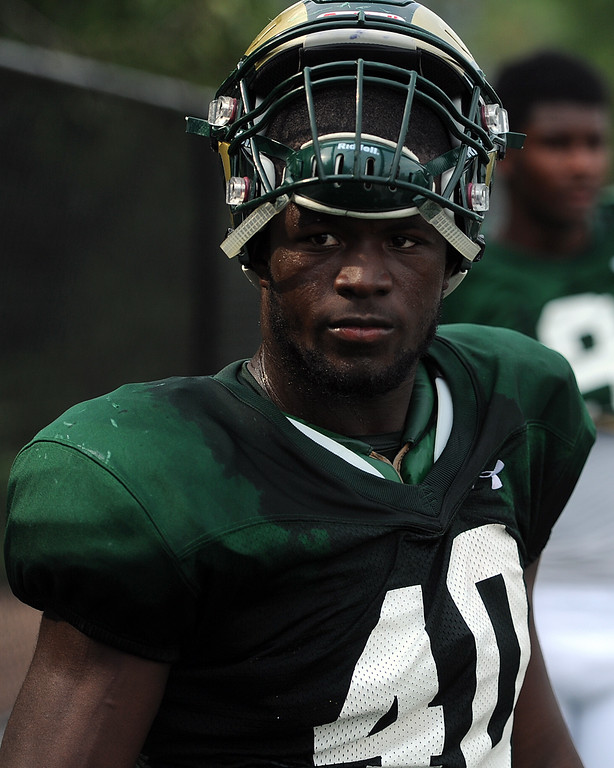 . Colorado State running back Rashaad Boddie takes a breather during practice Thursday, August 2, 2018 in Fort Collins, Colorado. (Sean Star/Loveland Reporter-Herald)