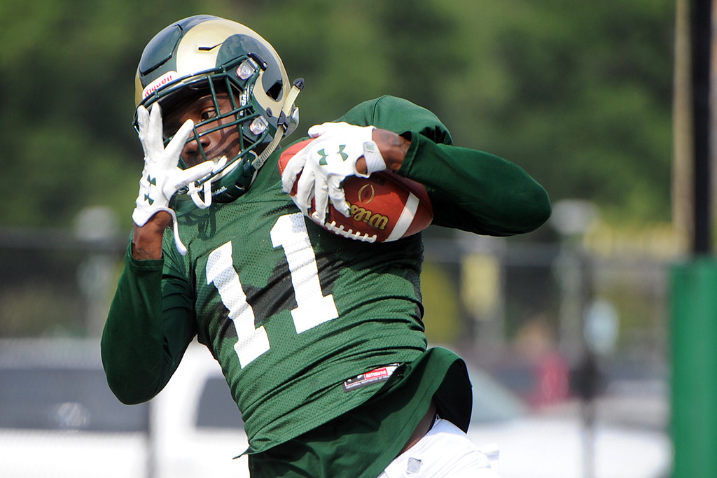 . Colorado State wide receiver Preston Williams hauls in a catch during practice Thursday, August 2, 2018 in Fort Collins, Colorado. (Sean Star/Loveland Reporter-Herald)
