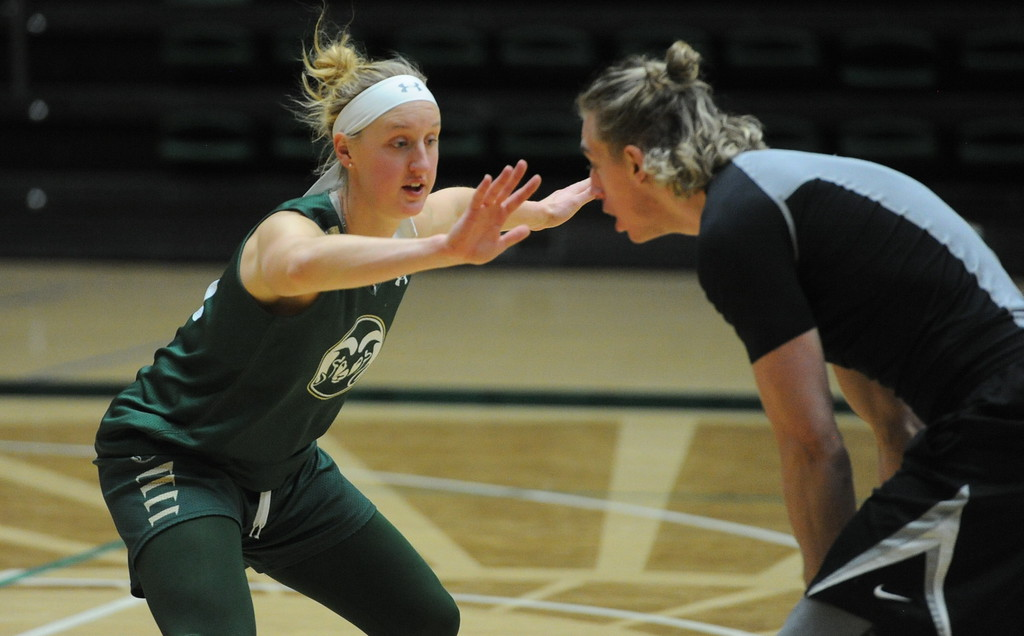 . Senior Hannah Tvrdy works on a defensive drill during a recent practice at Moby Arena in Fort Collins.