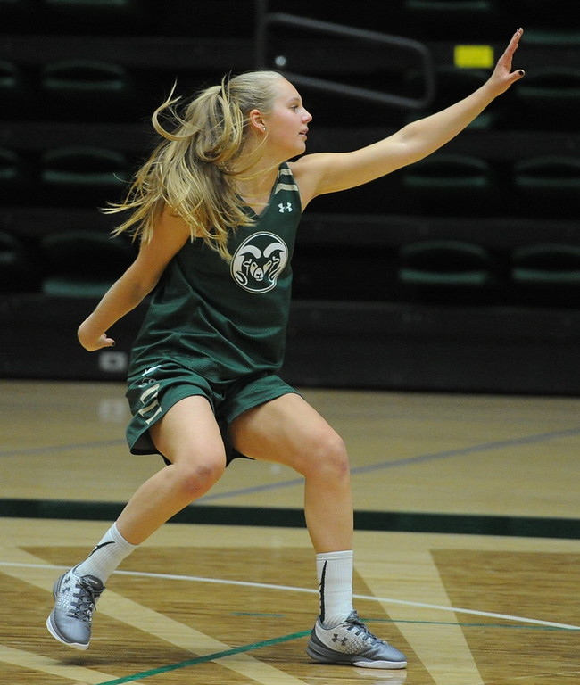 . Sophomore Nathalie Linden works on a defensive drill during a recent practice at Moby Arena in Fort Collins.
