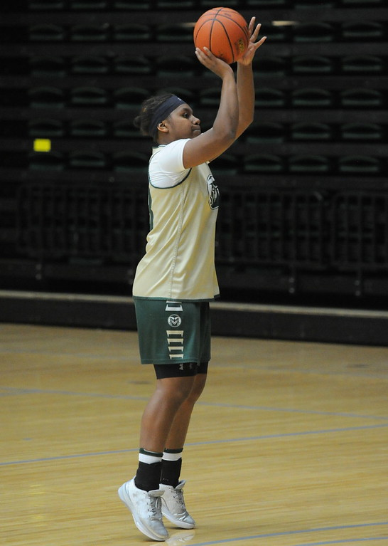 . Redshirt freshman Grace Colaivalu takes a shot during a recent practice at Moby Arena in Fort Collins.