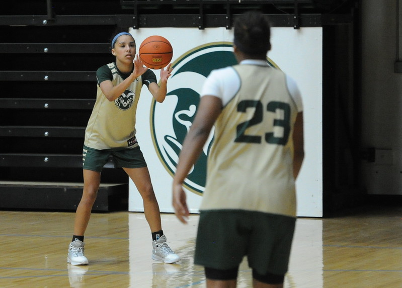 Jordyn Edwards, left, recevies a pass from teammate Grace Colaivalu during a recent practice at Moby Arena in Fort Collins.
