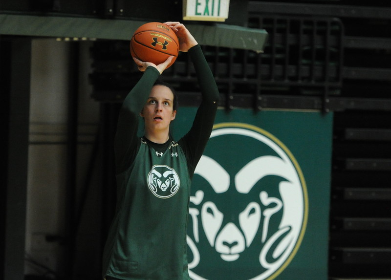 Senior Veronkia Mirkovic takes a shot during a recent practice at Moby Arena in Fort Collins.