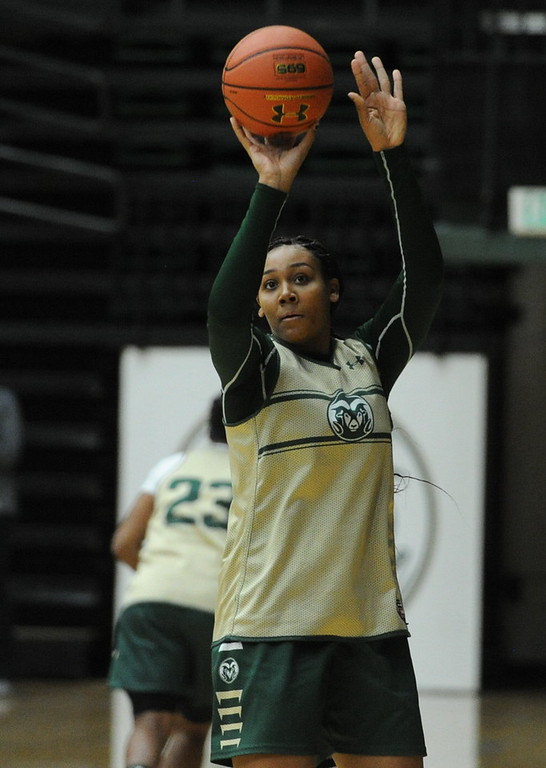 . Redshirt freshman Liah Davis takes a shot during a recent practice at Moby Arena in Fort Collins.