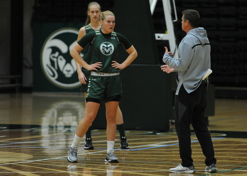 Rams junior Sofie Tryggedsson listens to instruction from CSU women's basketball coach Ryun Williams at practice at Moby Arena in Fort Collins.