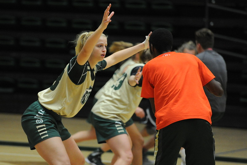 Sophomore Anna Dreimane works on a defensive drill during a recent practice at Moby Arena in Fort Collins.