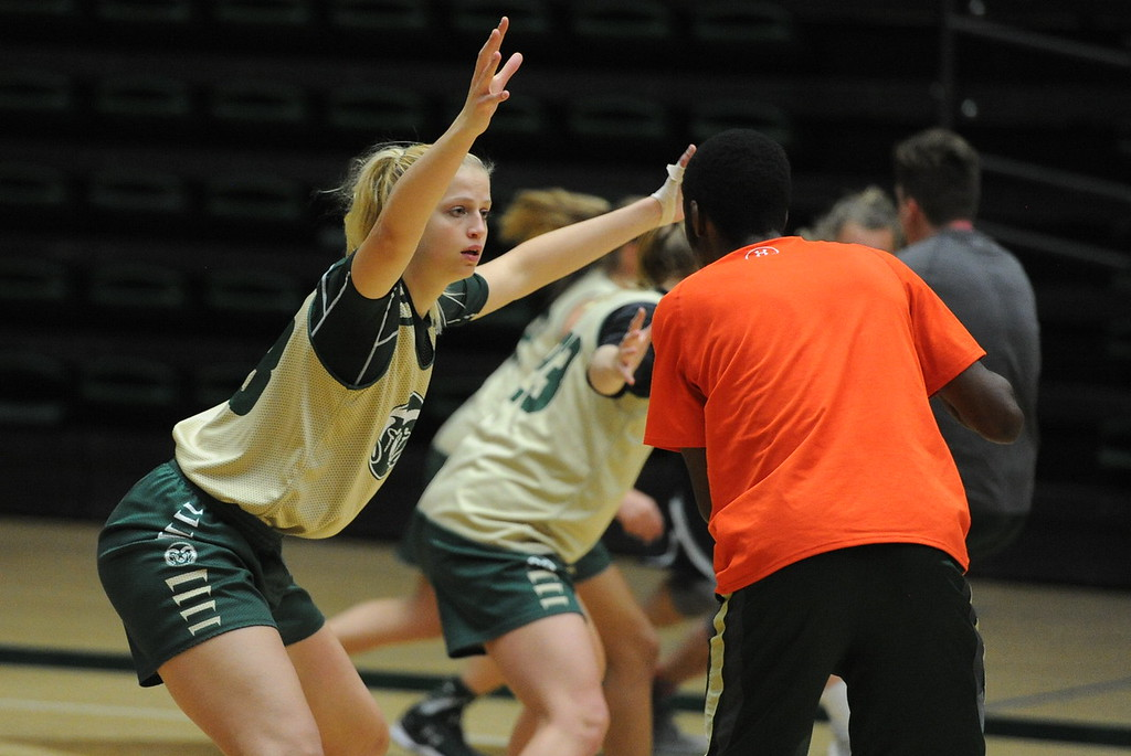 . Sophomore Anna Dreimane works on a defensive drill during a recent practice at Moby Arena in Fort Collins.