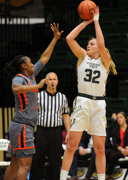 Colorado State's Annie Brady takes a jump shot over Morgan State's Tayler Miller on Thursday at Moby Arena. (Sean Star/Loveland Reporter-Herald)