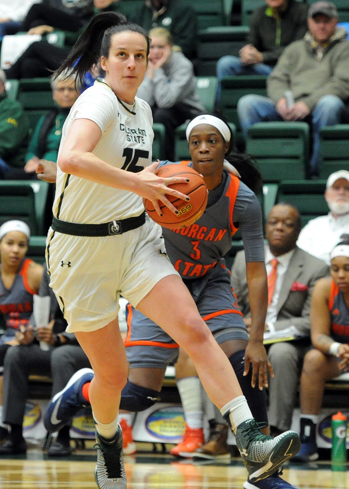 Colorado State's Veronika Mirkovic drives to the basket in a game against Morgan State on Thursday at Moby Arena. (Sean Star/Loveland Reporter-Herald)