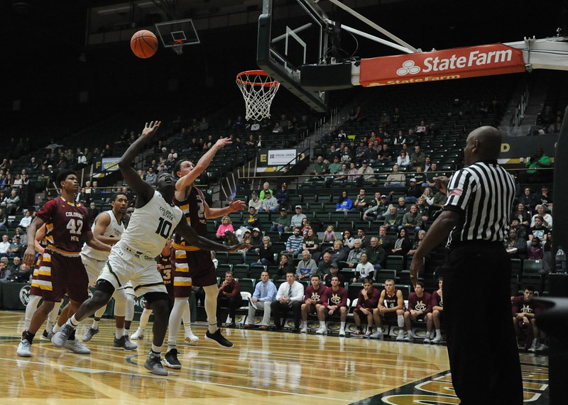 Colorado State's Che Bob (10) fights for a rebound against Colorado Mesa on Friday at Moby Arena.