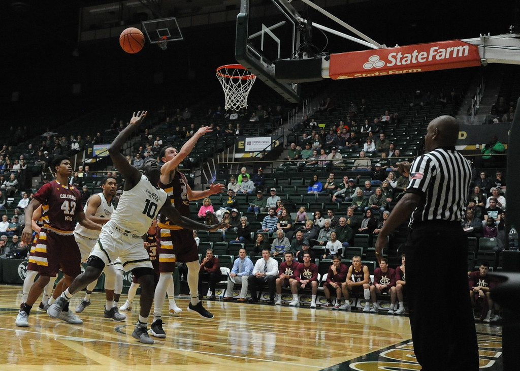 . Colorado State\'s Che Bob (10) fights for a rebound against Colorado Mesa on Friday at Moby Arena.