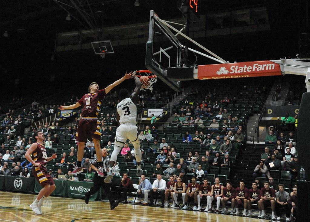 . Colorado State�s Raquan Mitchell rises up for a dunk during an exhibition game Friday against Colorado Mesa.