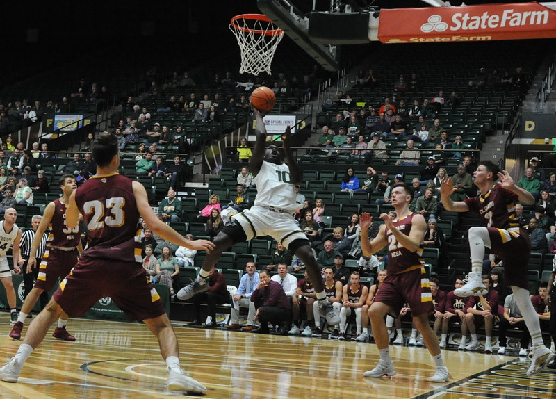 Colorado State's Che Bob (10) drives in for a layup during his team's exhibition against Colorado Mesa on Friday at Moby Arena.