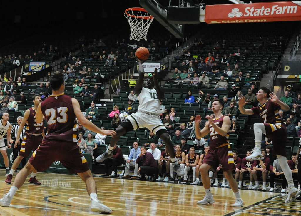 . Colorado State\'s Che Bob (10) drives in for a layup during his team\'s exhibition against Colorado Mesa on Friday at Moby Arena.