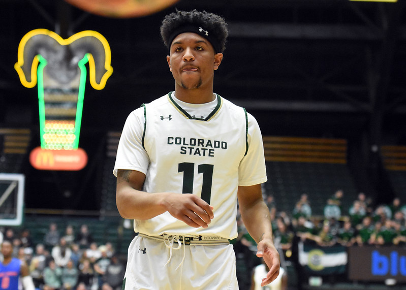 Colorado State guard Prentiss Nixon waits for an inbound pass during a game February 22, 2018 at Moby Arena in Fort Collins. (Sean Star / Loveland Reporter-Herald)