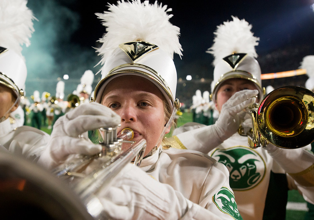 . Colorado State marching band members perform prior to the team taking the field against Nevada Saturday evening Oct. 14, 2017 at the CSU Stadium in Fort Collins. (Michael Brian/For the Reporter-Herald)